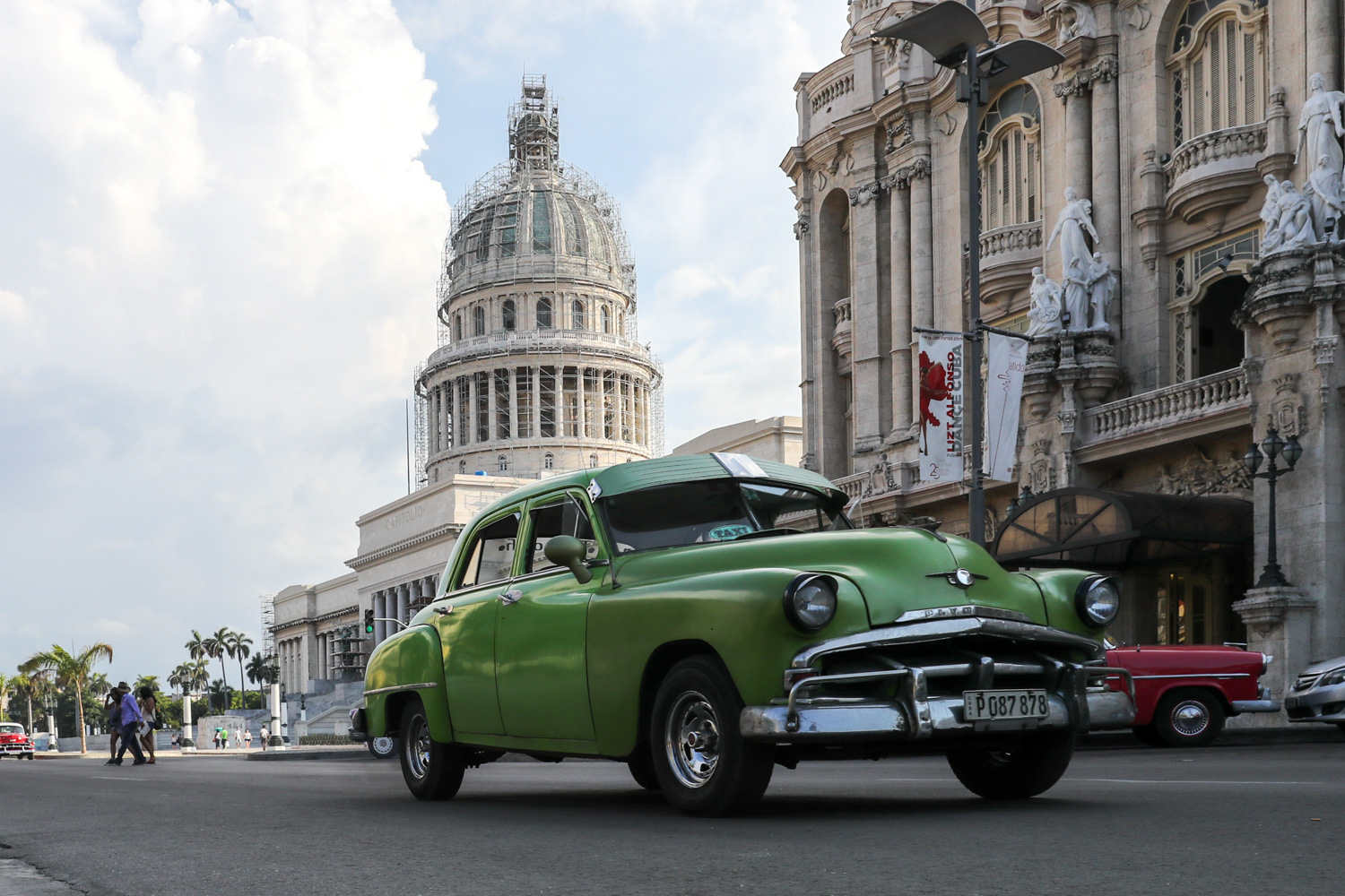 """Classic car passing by """"El Capitolio"""". - Cuba Photography"""