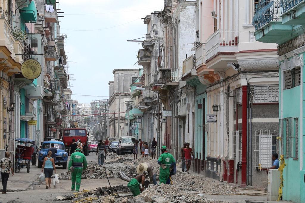 Havana, Cuba - Friday, August 4, 2017.  Havana street construction.
